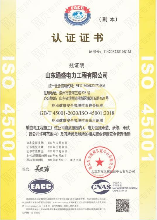 ISO45001 认证证书